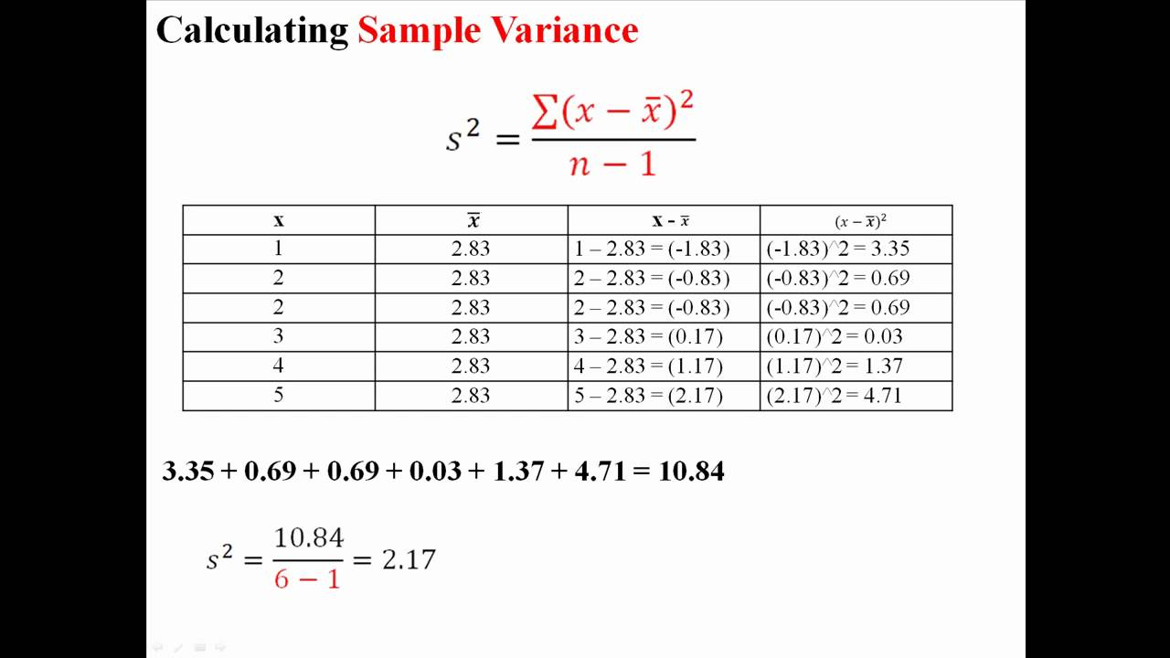 Variance And Standard Deviation Of A Sample Youtube