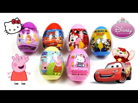 6 Amazing Surprise Plastic Toy Eggs From Hello Kitty, Peppa Pig, Minnie Mouse, Disney Cars And More! video
