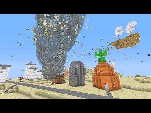 Minecraft: TORNADO MOD VS. BIKINI BOTTOM MAP! (Spongebob Squarepants Map!)
