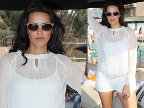 Neha Dhupia's FLASHES TRANSPARENT DRESS At Pool Party
