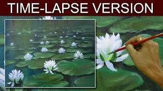 Time-Lapse Version | White Water Lilies | Acrylic Painting by JM Lisondra