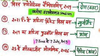 खेल करंट अफेयर्स,आगामी खेल प्रतियोगिताएं, upcoming sports venues and events in hindi, ssc, railway