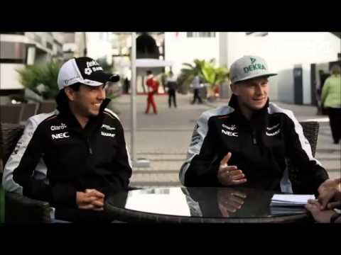 Sergio Perez and Nico Hulkenberg celebrate their 100th GP. Russian GP 2016