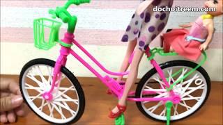 Đồ chơi BÚP BÊ BARBIE ĐẠP XE ĐI DẠO CÙNG EM GÁI - Xe đạp búp bê màu hồng (Chim Xinh)