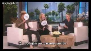 "Justin y Madonna en The Ellen Show jugando a ""Never Have I Ever"""
