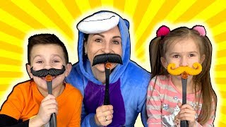 Playing MUSTACHE  Smash Funny Family game  with JoyJoy Lika