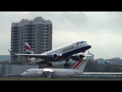 London City Airport Plane Spotting. Takeoffs and Landings