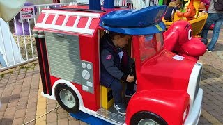 Children play with fire truck, funny videos for kids, with Twins Alex and Chris