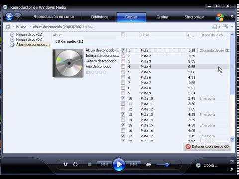 Extraer audio de un CD con Windows Media Player 11