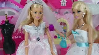 Barbie Wedding Dress and baby doll Bag house and bedroom closet toys play 바비 웨딩 침실 가방 하우스 아기인형 장난감