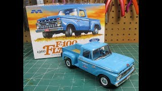 Moebius 1/25 1966 Ford F100 Flareside Scale Model Kit Build Review 1232