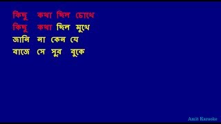 Kichhu katha chilo chokhe - Kishore Kumar Bangla Karaoke with Lyrics