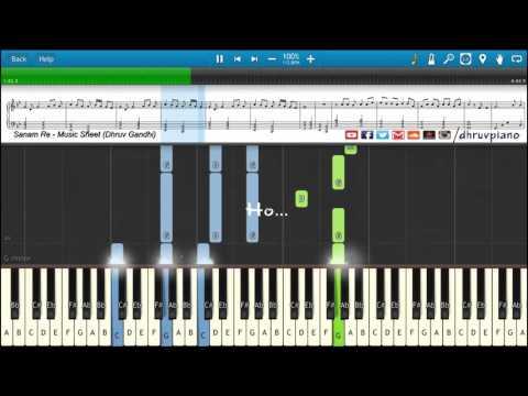 ♫ SANAM RE (Arijit Singh)    Piano Tutorial + Music Sheet + MIDI with Lyrics