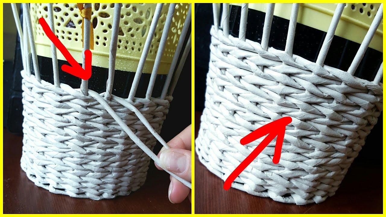 Прямое и обратное плетение из газетных трубочек