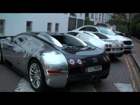 TWO TOP GEAR ARAB BUGATTI VEYRONS NEXT TO EACHOTHER IN LONDON!!