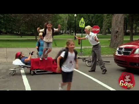 Naughty Kids Trample Injured Biker Prank
