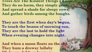 Kids Rhymes -  Kids English Rhymes -  Trees Are The Kindest Things I Know