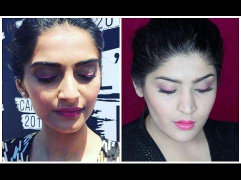 Sonam Kapoor Cannes 2016 inspired makeup | Pink winged liner and velvet matte lips