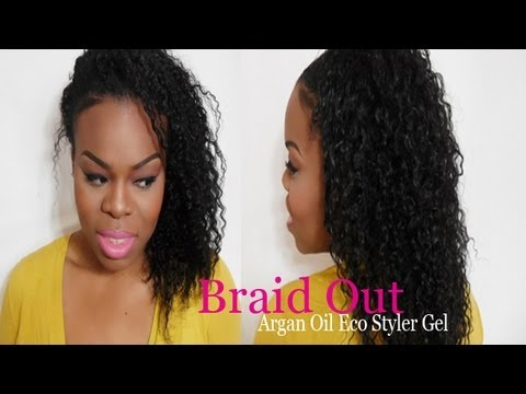 Braid Out On Natural Hair Tutorial Using Argan Oil Eco Styler Gel - SimplYounique