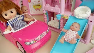 Baby doll pink car and slide house toys Baby Doli play