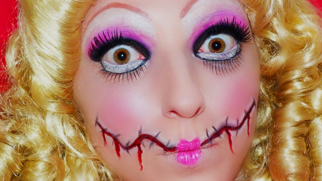 Maquillage halloween poup e diabolique youtube - Maquillage poupee halloween ...
