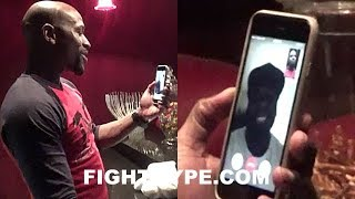 MAYWEATHER FACETIMES 50 CENT WHILE WATCHING POWER; GIVES HIM MCGREGOR TRAINING CAMP UPDATE