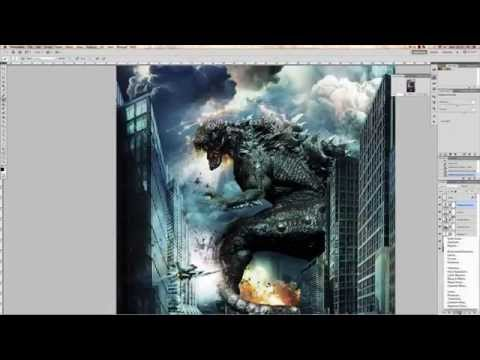 How to make stunning MOVIE POSTER Godzilla 2014 (Photoshop CS6)