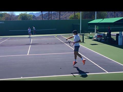 Roger Federer Stefan Edberg 2014 Indian Wells Practice 3.8.14 BNP Paribas Open