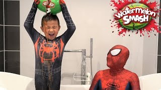 Spider-Man Watermelon SMASH Challenge Kids Fun Games With CKN Toys