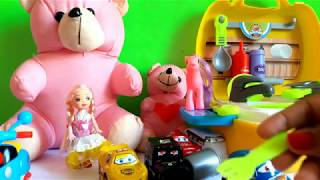 Baby Toys Kitchen Set for Kids. Teddy Bear and Baby Dolls Play with Cooking food.