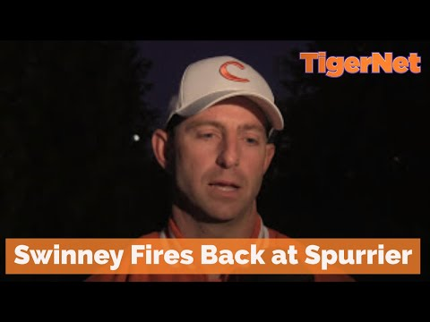 Clemson head coach Dabo Swinney answers South Carolina coach Steve Spurrier's comments after South Carolina's win over Clemson. Part about South Carolina beg...