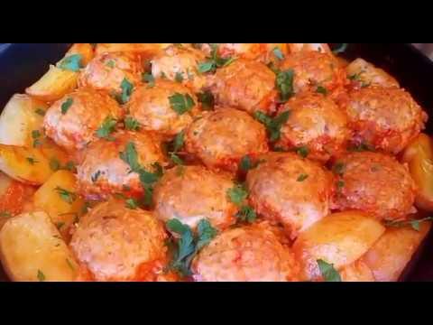 Тефтели в духовке с картошкой(полноценный обед для всей семьи)!!!