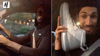 Enes Kanter Having Fun with Tacko Fall Driving A Car! Shows His BIG SHOE!