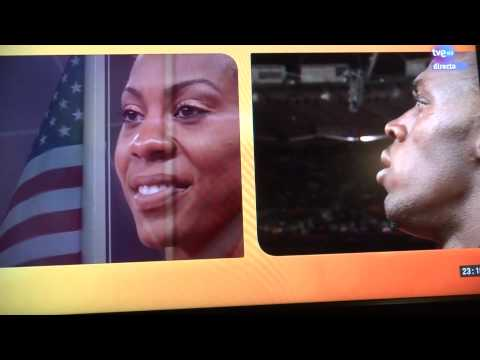 Usain Bolt cuts interview to show respect to US anthem(full of class)
