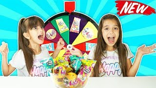 MYSTERY WHEEL OF SURPRISES CHALLENGE - Moj Moj Squishies and LOL Surprise Dolls