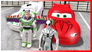 Toy Story Buzz Lightyear and Spiderman are Dancing Disney Cars Lightning McQueen Superhero Movie