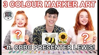 3 Color Marker Art Canvas Challenge *ft CBBC Presenter! | Summer DIY | Sis vs Sis | Ruby and Raylee
