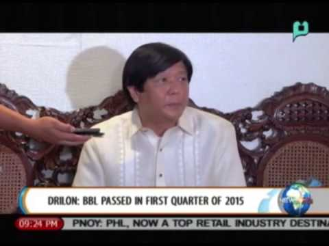 Drilon: Bangsamoro Basic Law to be passed in 1st quarter of 2015 || Sept. 10, 2014