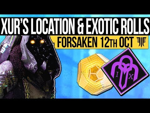 Destiny 2 | XUR'S LOCATION & EXOTIC ROLLS! Exotic Weapons, Armory & Perk Rolls! (12th October) thumbnail