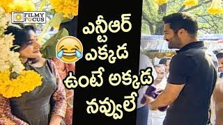 NTR Fun with Niveda Thomas @Kalyan Ram Movie Launch