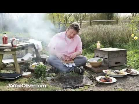 Jamie Oliver's BBQ chicken, sausages and rib eye steak