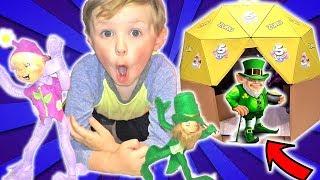 Easter Elf on the Shelf & Magic Leprechaun Elf in Real Life Dome Box Fort   DavidsTV