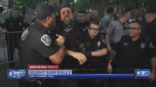 3 arrested as hundreds protest on UNC campus against Confederate statue