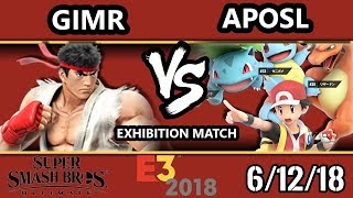 E3 2018 - SSBU Demo - GimR (Ryu) Vs. Aposl (Pokemon Trainer) Smash Bros. Ultimate - Exhibition