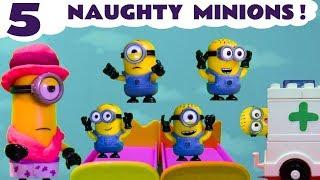 Minions Funny Kids Toy Story Five Little Monkeys Jumping On The Bed Nursery Rhyme TT4U