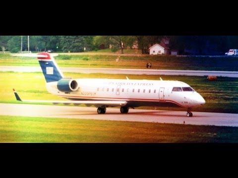 WINDY!  PSA Airlines CRJ200 Landing @ KROC