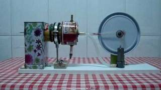 Homemade stirling engine made of cans. Motor Stirling