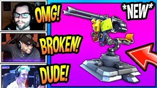 """STREAMERS *FIRST TIME USING* NEW """"MOUNTED TURRET"""" GUN! *EPIC* Fortnite FUNNY & SAVAGE Moments"""
