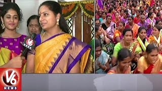 TRS MP Kavitha Face To Face | Maha Bathukamma At LB Stadium