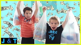 No Budget Dollar Store Shopping Challenge /Jake and Ty